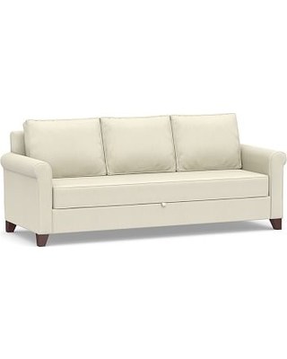 Cameron Roll Arm Upholstered Pull-Up Platform Sleeper Sofa, Polyester Wrapped Cushions, Premium Performance Basketweave Ivory