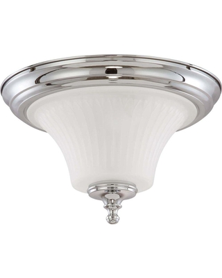 Glomar Lamberta 2-Light Polished Chrome Flush Mount with Frosted Etched Glass