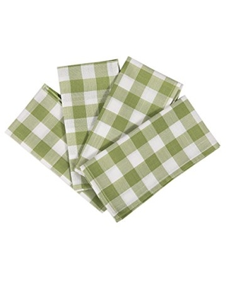 Xia Home Fashions Gingham Check Napkins, 20 by 20-Inch, Green, Set of 4