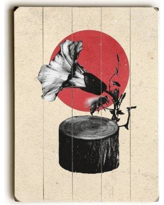 """East Urban Home 'Gramophone' Graphic Art Print URBR7278 Size: 16"""" H x 12"""" W x 2"""" D Format: Planked Wood"""