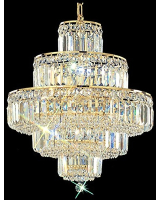 "Classic Lighting 1601 G CP Ambassador, Crystal, Chandelier, 20"" x 20"" x 21"", 24k Gold Plate"