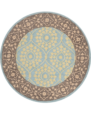 5' Leaf Hooked Round Area Rug Chocolate/Yellow - Safavieh, Brown