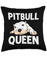 Best Pittie Pup & Bull Terrier Bulldog Owner Arts Funny Pitbull Gift For Women Mama Canine Dog Puppy Animal Throw Pillow, 18x18, Multicolor