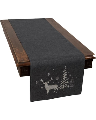 Xia Home Fashions 0.1 in. H x 15 in. W x 70 in. D Deer in Snowing Forest Double Layer Christmas Table Runner in Dark Gray