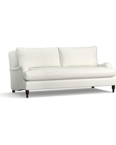 "Carlisle Upholstered Sofa 80"" with Bench Cushion,, Polyester Wrapped Cushions, Basketweave Slub Ivory"