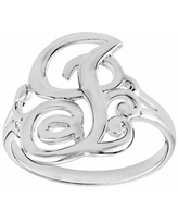 PRIMROSE Sterling Silver Initial Ring, Women's, Size: 9, Grey