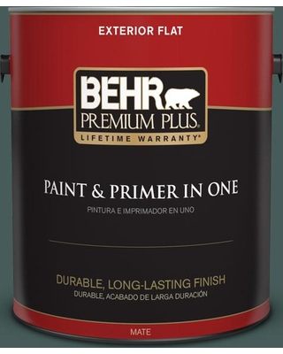 BEHR Premium Plus 1 gal. #490F-7 Jungle Green Flat Exterior Paint and Primer in One
