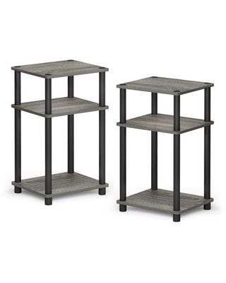 Furinno Just 3-Tier Turn-N-Tube End Table, French Oak Grey/Black, Set of 2