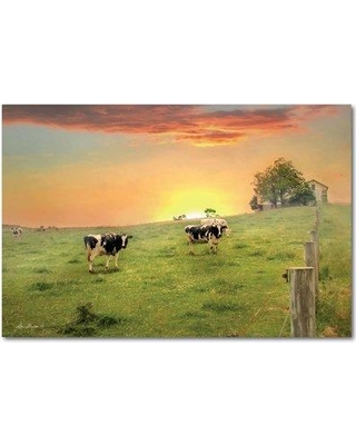 August Grove 'Morning Moos' Framed Graphic Art Print on Canvas AGGR8250