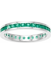 Traditions Sterling Silver Channel-Set Lab-Created Emerald Birthstone Ring, Women's, Size: 10, Green