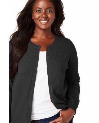 Plus Size Women's Perfect Long-Sleeve Cardigan Sweater by Woman Within in Black (5X) | Cotton