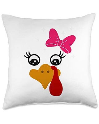 Thanksgiving Humor Tees & Gifts Only Lady Turkey Face Costume Gift Funny Thanksgiving Throw Pillow, 18x18, Multicolor