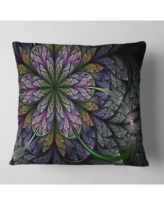 Designart 'Purple and Blue Large Fractal Flower Pattern' Floral Throw Pillow (Square - 18 in. x 18 in. - Medium)