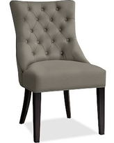 Hayes Tufted Dining Side Chair, Mahogany Frame, Textured Basketweave Metal Gray