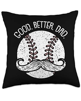 Fathers-Day Pillows Dad Daddy Papa Men Gifts Dad Base-ball Sport Funny Mustache Daddy Papa Dada Father Throw Pillow, 18x18, Multicolor