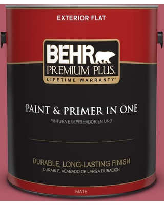 BEHR PREMIUM PLUS 1 gal. #130D-5 Rhubarb Flat Exterior Paint and Primer in One