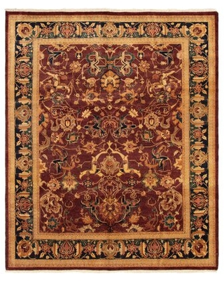 "One-of-a-Kind Ruaraidh Hand-Knotted 2010s Ushak Golden/Brown 8'2"" x 9'10"" Wool Area Rug World Menagerie"