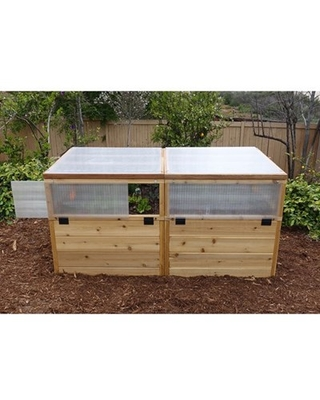 Garden in a Box Cedar Raised Bed with Greenhouse, 3' x 6'