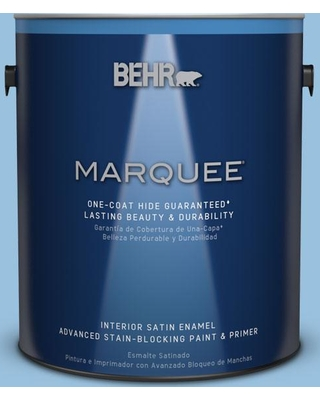 BEHR MARQUEE 1 gal. #M520-3 Charismatic Sky One-Coat Hide Satin Enamel Interior Paint and Primer in One