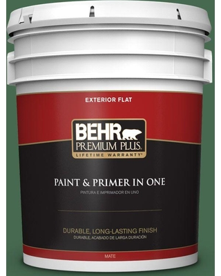 BEHR Premium Plus 5 gal. #M410-7 Perennial Green Flat Exterior Paint and Primer in One