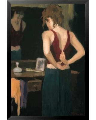 Buy Art For Less 'Red Dress Poster' by Ed Martinez Framed Painting Print IF 36429 24x36 1.25 Black