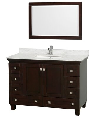 """Acclaim 48"""" Single Bathroom Vanity Set with Mirror Wyndham Collection Top Finish: White Carrera Marble, Base Finish: Espresso"""