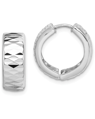 Curata 925 Sterling Silver Rhodium Sparkle Cut Polished Hinged Hoop Earrings Jewelry Gifts for Women
