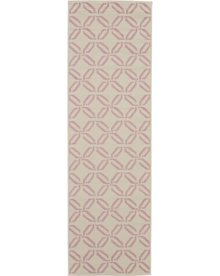 Nourison Jubilant JUB17 White and Pink 2 ft. x 7 ft. Low-Pile Hallway Runner Rug, Ivory/Pink