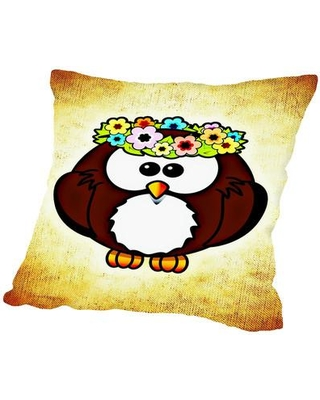 """East Urban Home Cool & Funny Owl Bird Throw Pillow, Cotton/Polyester/Polyfill in Brown/Ivory/Cream, Size 20"""" H x 20"""" W x 2"""" D 