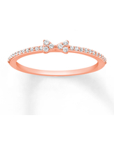 Diamond Stackable Ring 1/8 ct tw Round-cut 10K Rose Gold
