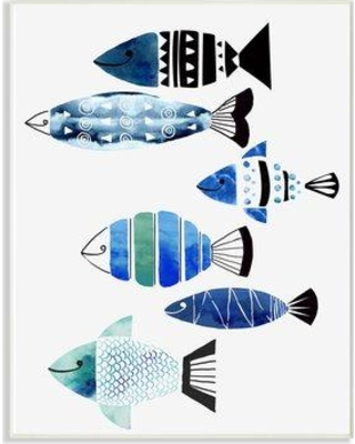 """Highland Dunes 'Collage Tropical Fish' Graphic Art Print W001077696 Format: Wall Plaque Size: 18"""" H x 12.5"""" W x 0.5"""" D"""