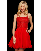 Milanoo With Homecoming Dress Red Short A-Line Strapless Sleeveless Sequins Polyester Midi Dress