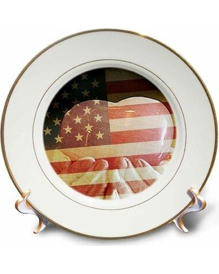 East Urban Home Heart in Hands America Patriotic Photography USA Porcelain Decorative Plate W000428618