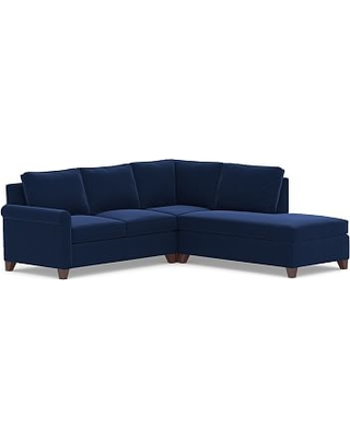 Cameron Roll Arm Upholstered Left 3-Piece Bumper Sectional, Polyester Wrapped Cushions, Performance Everydayvelvet(TM) Navy