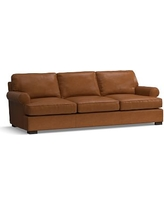 Townsend Roll Arm Leather Grand Sofa, Polyester Wrapped Cushions, Leather Signature Maple