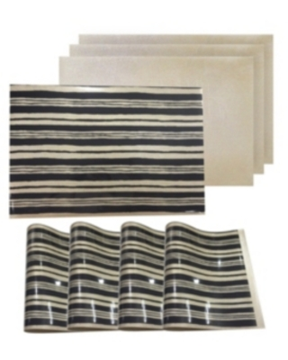 """Dainty Home Reversible Metallic Place Mats Non-Slip Jagged 12"""" x 18"""" Placemats - Set of 4"""
