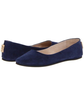 French Sole Sloop Flat (Navy Suede) Women's Flat Shoes