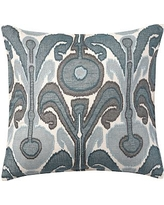 """Kenmare Ikat Embroidered Pillow Cover, 24"""", Blue"""