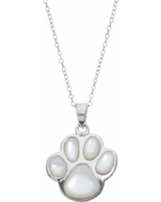 """Mother-of-Pearl Sterling Silver Paw Print Pendant Necklace, Women's, Size: 18"""", White"""