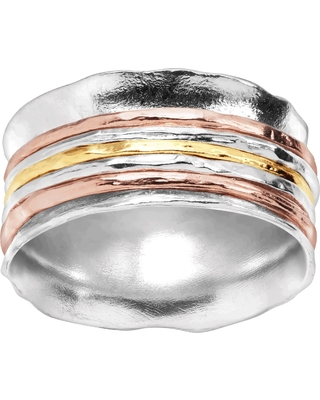 Silpada 'Gold Rush' Spinner Ring in Sterling Silver & 18K Yellow & Rose Gold Plate