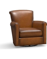Irving Leather Swivel Glider, Polyester Wrapped Cushions, Leather Burnished Bourbon