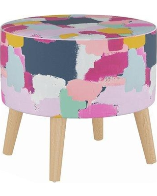 Wrought Studio Button Round Ottoman with Splayed Legs BI218585