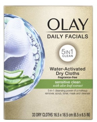 Olay Daily Facials Cleansing Cloths, Sensitive, 33 Count