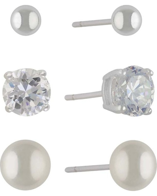 Sterling Silver Set of Three Cubic Zirconia Fresh Pearl and Ball Button Earring Set - Silver