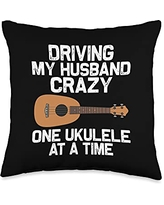 Cute Hawaii Guitar Music Lover Guitarist Designs Funny Ukulele Gift For Women Mom Hawaiian Instrument Player Throw Pillow, 16x16, Multicolor
