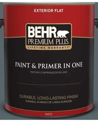 BEHR Premium Plus 1 gal. #N470-6 Whale Gray Flat Exterior Paint and Primer in One