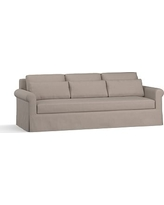 "York Roll Arm Slipcovered Deep Seat Grand Sofa 98"" with Bench Cushion, Down Blend Wrapped Cushions, Performance Everydayvelvet(TM) Carbon"