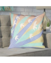 "Brayden Studio Enciso Birds and Sun Double Sided Print Pillow Cover BYST5051 Size: 18"" x 18"", Color: Blue/Orange"