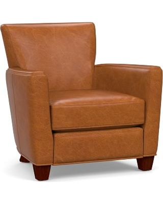 Irving Square Arm Leather Power Recliner, Polyester Wrapped Cushions, Vintage Caramel