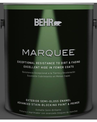 BEHR MARQUEE 1 gal. #N460-7 Space Black Semi-Gloss Enamel Exterior Paint and Primer in One
